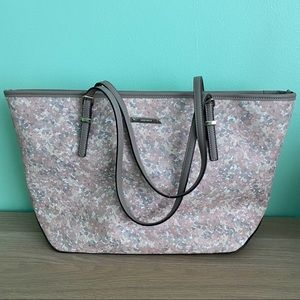 Nine West Gray Pink Floral Tote